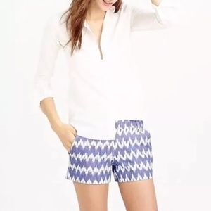 J Crew blue & white ikat chevron print short 4 EUC